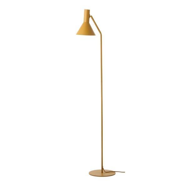 musztardowa lampa podłogowa do salonu