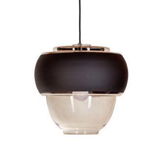 Bursztynowa lampa wisząca Ariel Wide - czarny pas