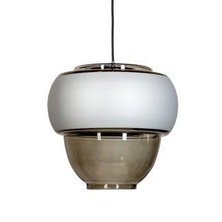 Szara lampa wisząca Ariel Wide - barwione szkło