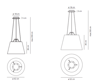 Lampa wisząca Tolomeo Mega - pergaminowy abażur Ø42