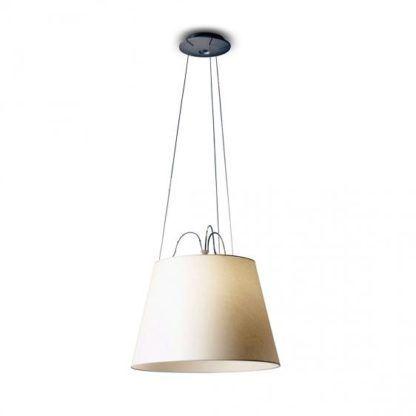 lampa wisząca z kremowym abażurem