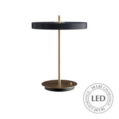 nowoczesna lampa stołowa złoto i antracyt