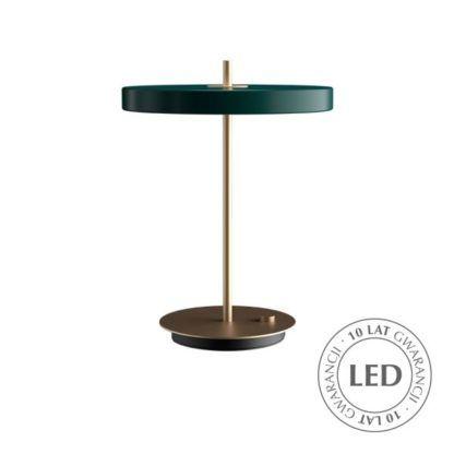 zielona lampa stołowa ze złotą nóżką