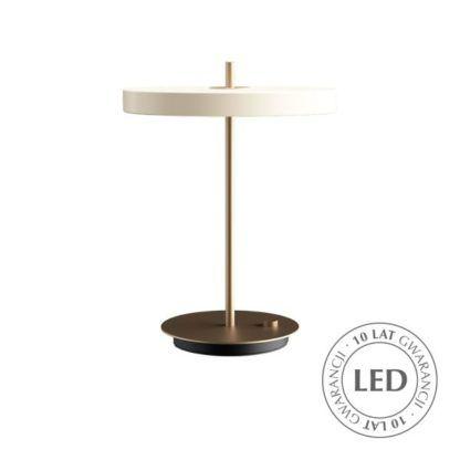 biała lampa biurkowa ze ściemniaczem