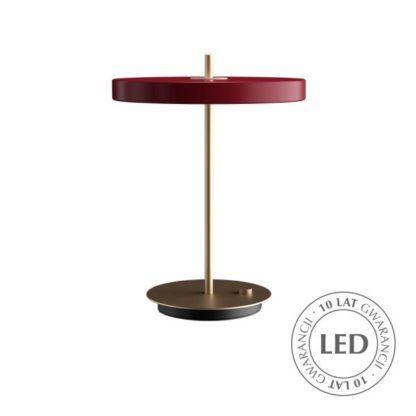 bordowa lampa stołowa led nowoczesna