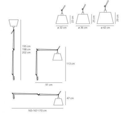 Lampa biurkowa Tolomeo Mega Tavolo - srebrna, abażur Ø36