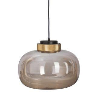 Bursztynowa szklana lampa Boom LED - złote detale