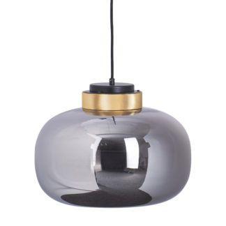 Przydymiona szara szklana lampa Boom LED - złoty detale