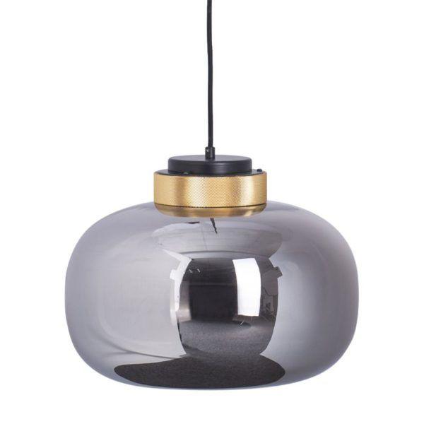 szara lampa wisząca ze szkła