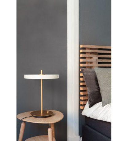 nowoczesna lampa stołowa płaski klosz