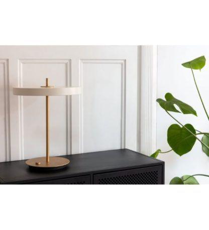 biało-złota lampa stołowa nowoczesna