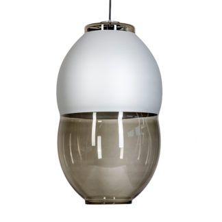Szara lampa wisząca Miranda Long - srebrny element