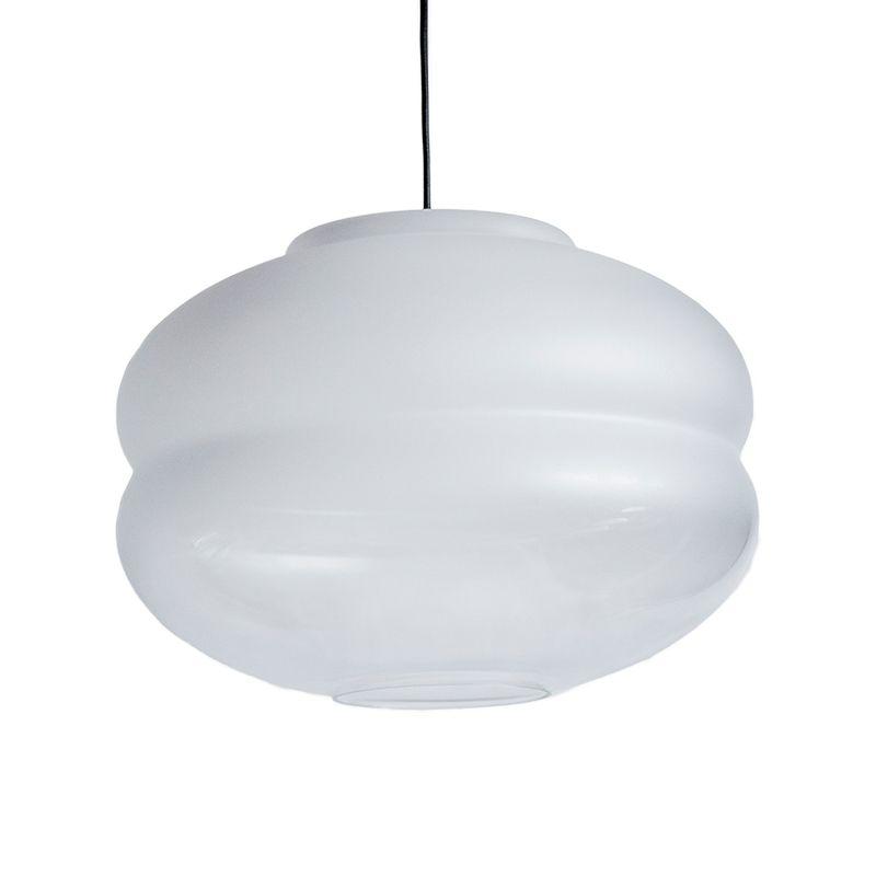 biała lampa wisząca ze szkła