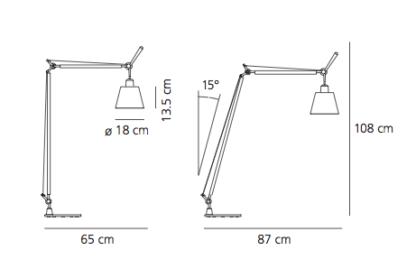 Lampa podłogowa Tolomeo Basculante Lettura - pergaminowy abażur