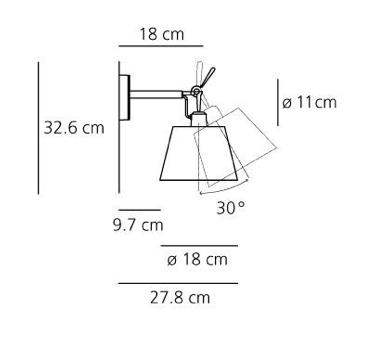 Kinkiet Tolomeo Diffusore Parete - pergaminowy abażur  Ø18