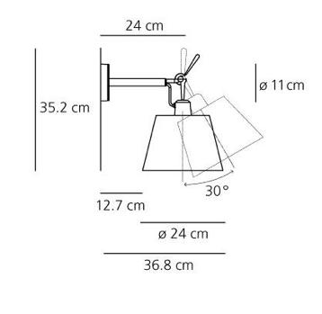 Kinkiet Tolomeo Diffusore Parete - pergaminowy abażur  Ø24