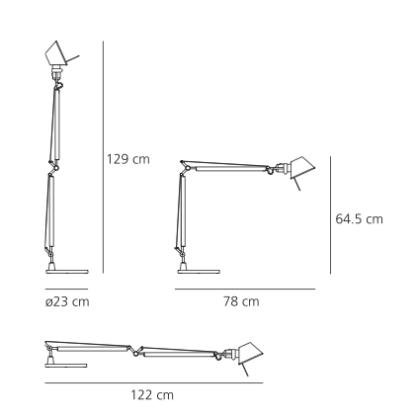 Lampa biurkowa Tolomeo Tavolo - srebrna, LED