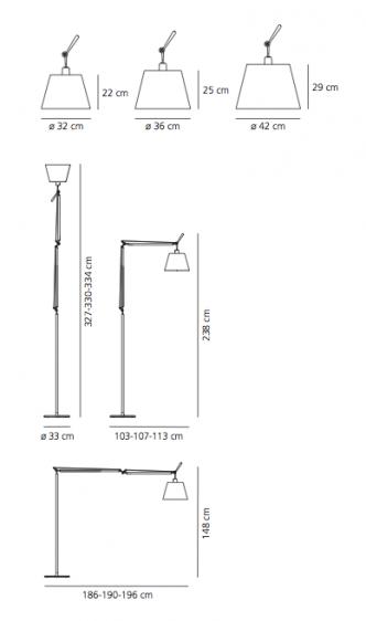 Lampa podłogowa Tolomeo Mega Terra, abażur Ø36, beż