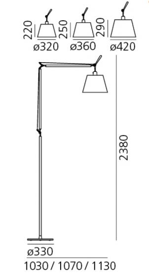 Nowoczesna lampa podłogowa Tolomeo Mega Terra, abażur Ø36