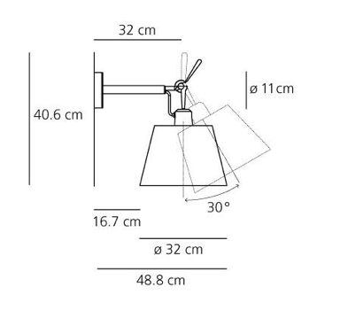 Kinkiet Tolomeo Diffusore Parete - pergaminowy abażur  Ø32