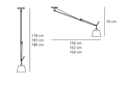 Lampa wisząca Tolomeo Sospensione Decentrata - abażur Ø24