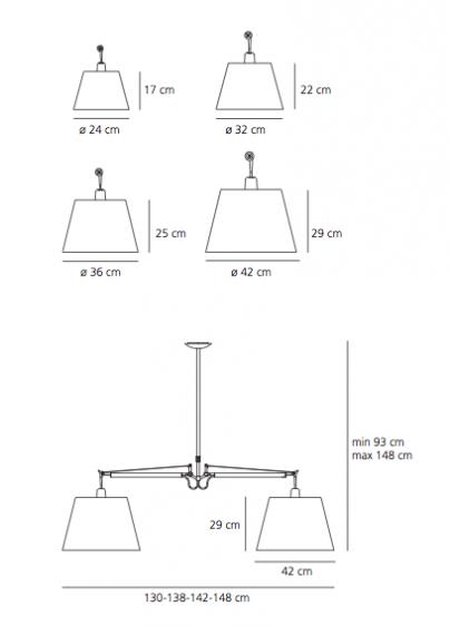 Lampa wisząca Tolomeo Basculante 2 Bracci - abażur Ø32