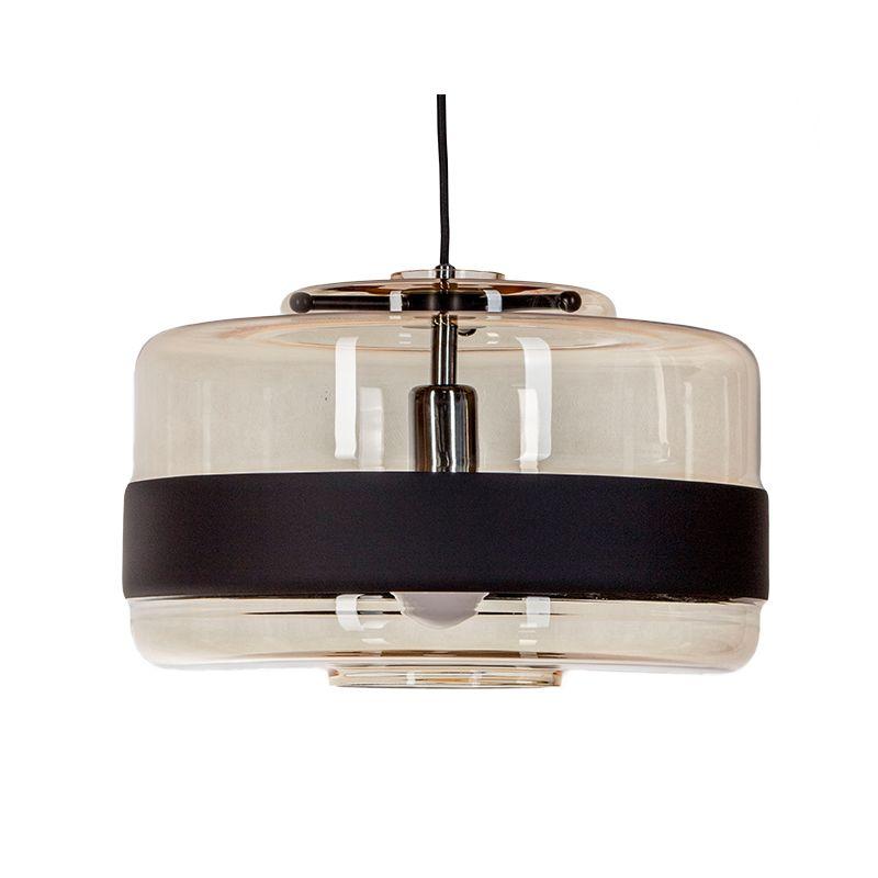 designerska lampa z beżowego szkła