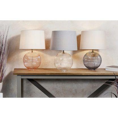 szklane lampy stołowe na konsolę stalową