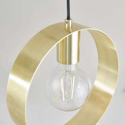 Złota lampa wisząca Hoop z obręczą - mat, szczotkowana stal