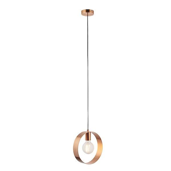 Miedziana wisząca lampa Hoop z obręczą - mat, szczotkowana stal