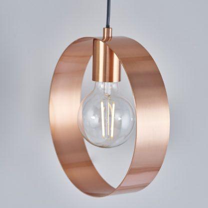 Miedziana lampa wisząca Hoop z obręczą - mat, szczotkowana stal
