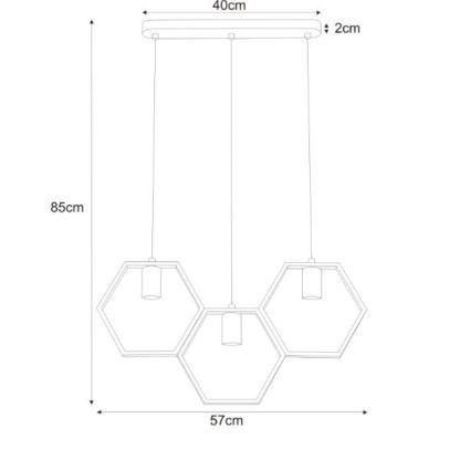 Lampa wisząca Honey - 3 klosze, czarna