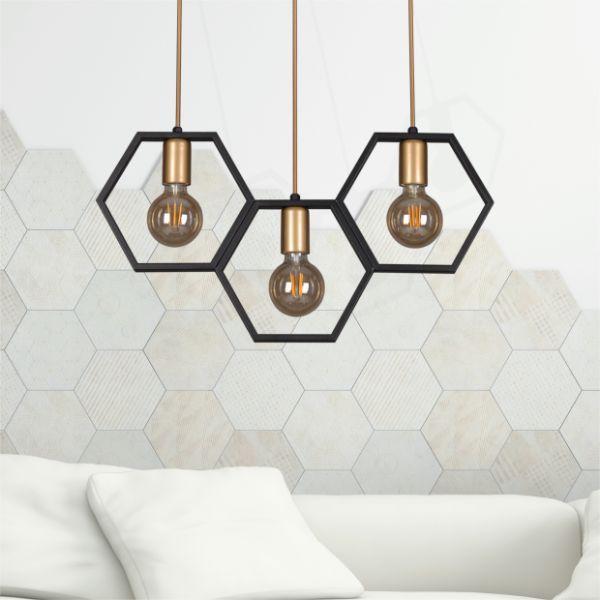 Lampa wisząca Honey – 3 klosze, czarna
