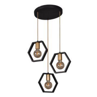 Czarna lampa wisząca Honey - okrągła podsufitka