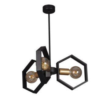 Industrialny żyrandol Honey - czarny, metalowy