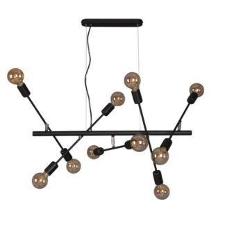Podłużna lampa wisząca Camara - czarna, regulowana