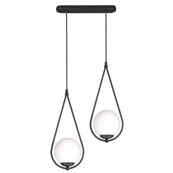 czarna lampa z białym kloszem szkło