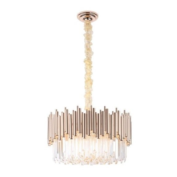 Efektowna lampa wisząca Vogue - kryształki, złota