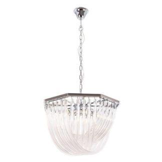 Duża lampa wisząca Plaza - szklane elementy, srebrna