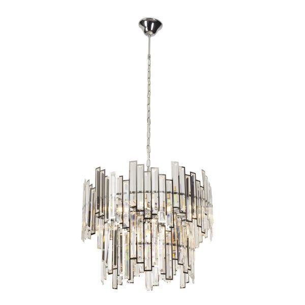 Duża lampa wisząca Nemo - srebrna, kryształki