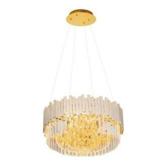 Efektowna lampa wisząca Trend - złota, kryształki