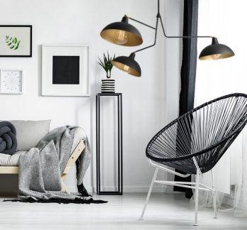 Czarny żyrandol industrialny Espace - do salonu, 3 ramiona