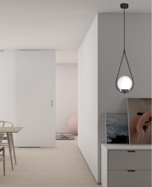 nowoczesna lampa wisząca szklana kula