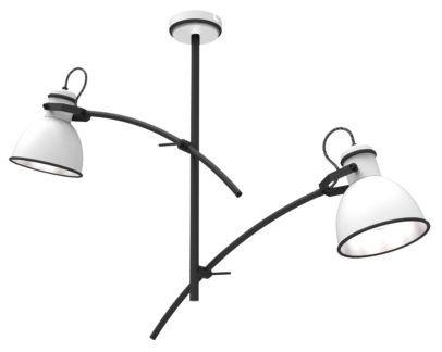 Czarna lampa sufitowa Zumba - 2 białe klosze z regulacją