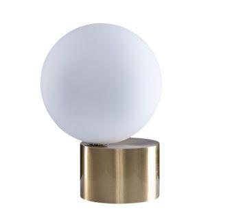 Lampa stołowa Roshe - biała kula na złotej podstawie - duża