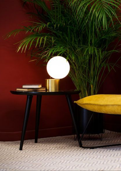 złota lampa stołowa kula do salonu