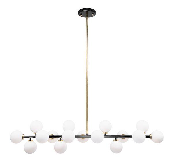 podlużna lampa wisząca klosze kule