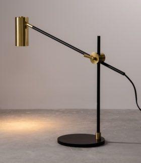 Stylowa lampa stołowa Octa - czarno-złota - regulacja
