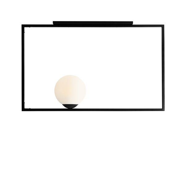 biała kula w czarnej ramie lampa sufitowa