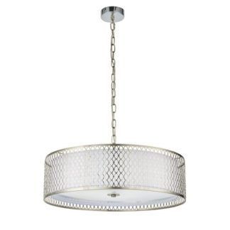 Elegancka lampa wisząca Cordero - srebrna, okrągła